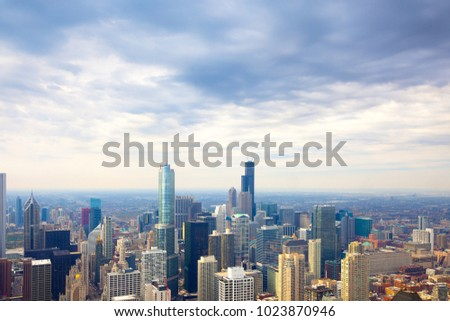 Elevated view of the skyline of downtown Chicago, Illinois, USA