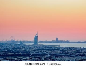 Elevated view towards Burj Al Arab Hotel at dusk, Dubai, United Arab Emirates