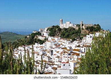 Elevated view of a traditional white village, Casares, Malaga Province, Andalucia, Spain, Western Europe