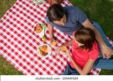 Elevated view of two friends looking into each others eyes while they hold glasses as they lie on a blanket with a picnic