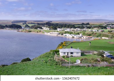 Elevated view of Waitangi, the main port and settlement of the Chatham Islands, New Zealand.