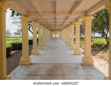 Elevated Walkway in the building of Mrigadayavan Palace, Thailand, Public place.