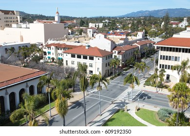 Elevated wide angle drone view of empty downtown Santa Barbara California city business district