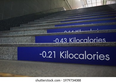 The elevation angle of a gray granite staircase with numbers showing the cumulative amount of energy (calorie) burned as each step is increased.