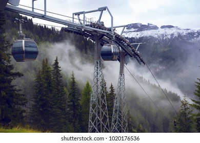elevator in the Dolomites mountains, Italy.