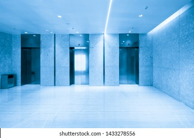 The elevator entrance is in the shopping mall