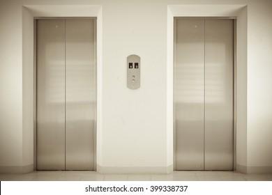 Elevator or lift doors.
