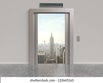 elevator with opened doors to city