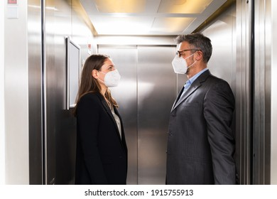Elevator Pitch. Speech And Lift Conversation In Face Mask