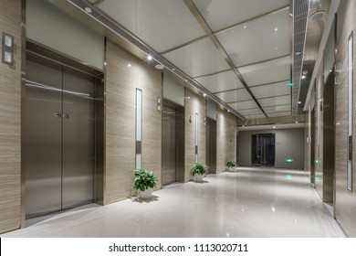 elevator room in modern office building