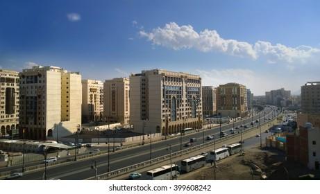 Eleveated view of holy city of madinah Saudi Arabia