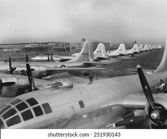 Eleven B-29's in Boeing-Wichita assembly factory awaiting final flight tests. The 'Superfortresses' were introduced to combat in May 1944, mainly in the Pacific as long range bombers against Japan.