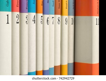 Eleven numbered books in a row