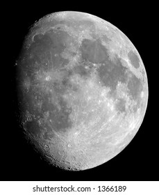 An eleven-day-old Moon, photographed on 2004-05-30 in its gibbous phase, photographed through a 0.2-metre telescope
