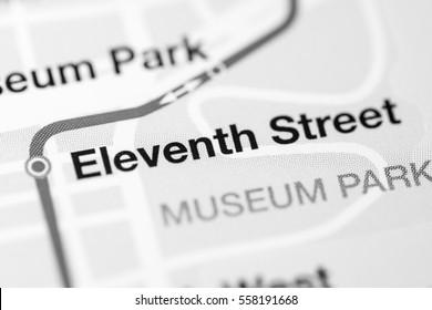 Eleventh Street Station. Miami Metro map.