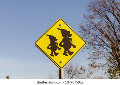 elf crossing sign , two elf's on sign