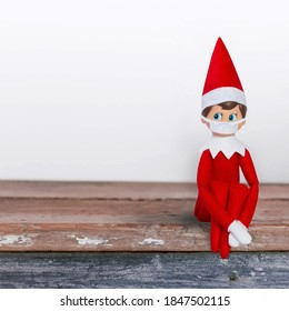 Elf on Shelf with face mask social distancing