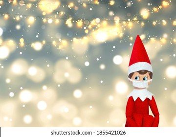 Elf On Shelf with lights in background