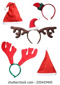 elf and santa hats, reindeer antlers isolated on white background