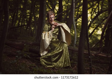 Elf woman in fairy forest. Fantasy and artistic photos