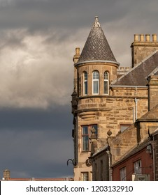 ELGIN, MORAY, SCOTLAND - 14 SEPTEMBER 2018: This is a view of some of the old architecture within the town centre of Elgin, Moray, Scotland on 14 September 2018