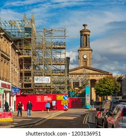 ELGIN, MORAY, SCOTLAND - 14 SEPTEMBER 2018: This is a view of Elgin High Street, Moray, Scotland on 14 September 2018 when view is obstructed by large amount of scaffolding.