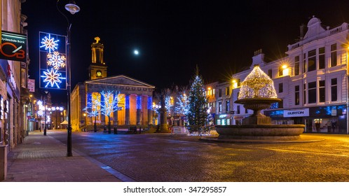 ELGIN, MORAY, SCOTLAND - 30 NOVEMBER: This is the Christmas Lights within the High Street and Plainstones of Elgin, Moray, Scotland on 30 November 2015.