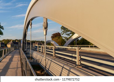ELGIN, MORAY, SCOTLAND - 31 AUGUST:  This is a view of the structure of the Landshut Bridge over the river Lossie in Elgin, Moray, Scotland on 31 August 2018