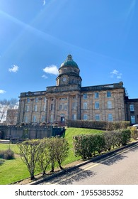 Elgin, Scotland - 12th Apr 2021: Dr Grays hospital front faced on a sunny winter morning