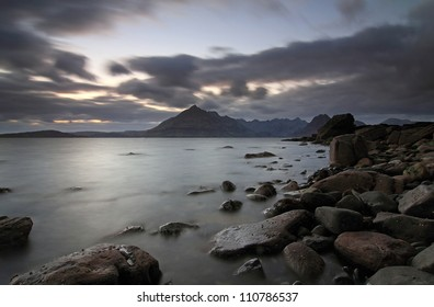 Elgol Sunset by Loch Scavaig and Cuillin Mountains in the background