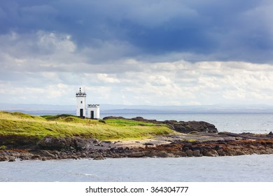 Elie Ness Lighthouse in the town of Elie, Fife , Scotland.