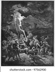 Elijah destroys the messengers of Ahaziah -  Picture from The Holy Scriptures, Old and New Testaments books collection published in 1885, Stuttgart-Germany. Drawings by Gustave Dore.