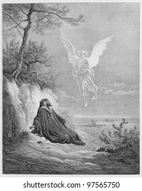 Elijah is nourished by an Angel -  Picture from The Holy Scriptures, Old and New Testaments books collection published in 1885, Stuttgart-Germany. Drawings by Gustave Dore.