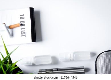 elimination of tobacco smoking electronic cigarette white backgr