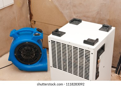 Elimination of water damage with fan and dryer