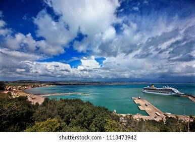 "ELIS (""ILIA""), PELOPONNESE, GREECE- April 3, 2013. Panoramic view of the port of Katakolo town."