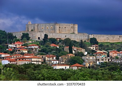 """ELIS (OR """"ILIA""""), PELOPONNESE, GREECE- October 22, 2014. Chlemoutsi (also known as """"Clermont"""") castle at Kastro village, Municipality of Andravida-Kyllini."""