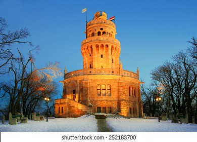 Elisabeth lookout tower on Janos Hill, Budapest, in winter