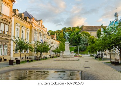 The Elisabeth Square in the historic city centre of Miskolc with a statue of Lajos Kossuth