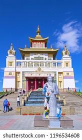 Elista, Kalmykia - 16 Sep 2016: Buddhist temple (Golden Abode of Buddha Shakyamuni), one of world residences of Dalai Lama. Statue of Sagaan Ubgen (White Old Man), guardian of life & prosperity.