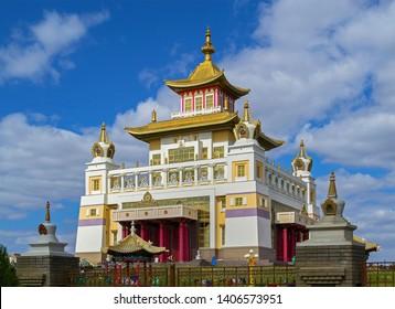 Elista, Kalmykia - 16 Sep 2016: Buddhist temple (Golden Abode of Buddha Shakyamuni), one of world residences of Dalai Lama