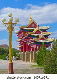 Elista, Kalmykia - 16 Sep 2016: Colorful gate with dragons at Buddhist temple (Golden Abode of Buddha Shakyamuni), one of world residences of Dalai Lama.