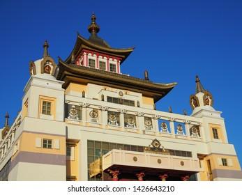 Elista, Republic of Kalmykia, Russia - June, 2019: Burkhan Bakshin Altan Sume The Golden Abode of the Buddha Shakyamuni is the main touristic attraction in the capital of Kalmykia.