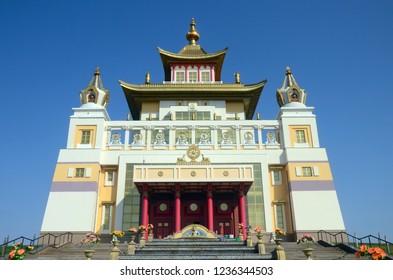 "Elista, Republic of Kalmykia, Russia - September, 2015: Burkhan Bakshin Altan Sume (""The Golden Abode of the Buddha Shakyamuni"") is the main touristic attraction in the capital of Kalmykia."