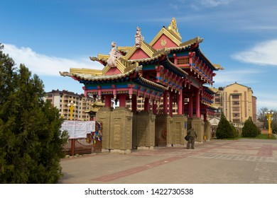 Elista, Russia: 04.19.2019. Buddhist complex Golden Abode of Buddha Shakyamuniin Kalmykia. Gates of Hurul.