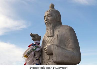 Elista, Russia: 04.19.2019. Buddhist complex Golden Abode of Buddha Shakyamuni in Kalmykia (Great Hurul). Statue of Tsagan Aav or the White Elder