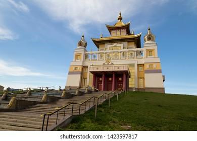 Elista, Russia: 04.19.2019. Buddhist complex Golden Abode of Buddha Shakyamuni in Kalmykia (Great Hurul)