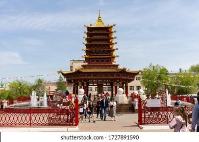 Elista, Russia - 05 02 2019: Pagoda Seven Days in Elista.