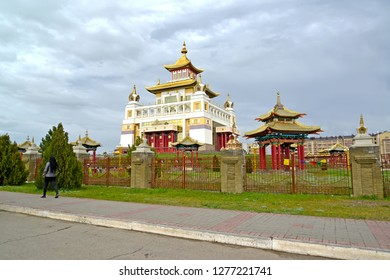 """ELISTA, RUSSIA - APRIL 19, 2017: View of the temple and arbor of the Buddhist temple complex """"Gold Monastery of Buddha Shakyamuni"""". Kalmykia"""
