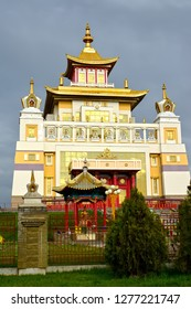 "ELISTA, RUSSIA - APRIL 19, 2017: Main building of the Buddhist temple complex ""Gold Monastery of Buddha Shakyamuni"". Kalmykia"